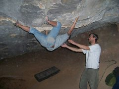 Rock Climbing Photo: Matt traversing the roof of the first room