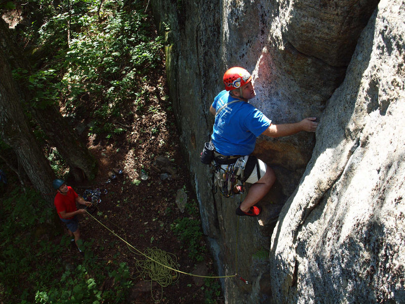 Rock Climbing Photo: FA of A Peney for your freedom, right before stepp...
