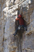 Rock Climbing Photo: Mike showing how to get contorted for the crux. Sh...