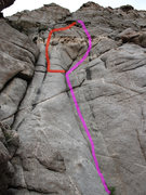 Rock Climbing Photo: Pink is Flight Without Wings, red is Cling Till Ya...
