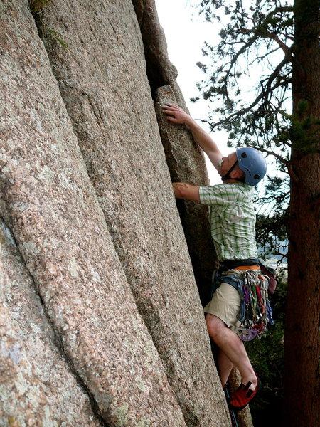 Rock Climbing Photo: Jeff big crack wrasling...Gollum's Arch.