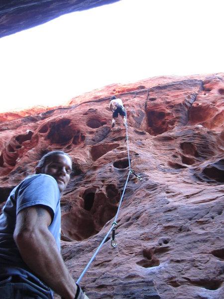 Rock Climbing Photo: Black Corridor, Red Rock