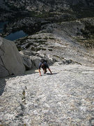 Rock Climbing Photo: with Treasure Lakes far below (NW Slabs route)
