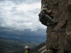 Rock Climbing Photo: Another shot of storm clouds and climbers.