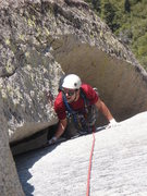 Rock Climbing Photo: Coming up the wide section on P4