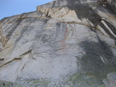 Rock Climbing Photo: Arms Race starts on the left and takes the curving...