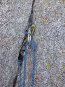 Rock Climbing Photo: Pitch 2 gear anchor is a little dicey, 2 large DMM...