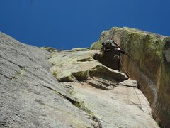 Rock Climbing Photo: Crux moves.  PULL that roof!