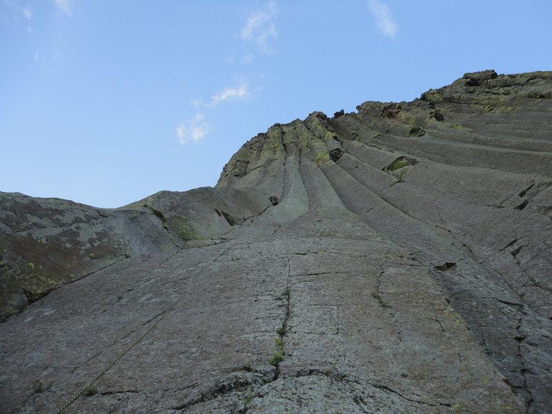 Rock Climbing Photo: Justin Harr on pitch one.  Photo by John Gunnels.