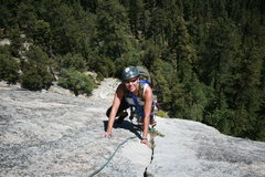 Rock Climbing Photo: Agina Sedler almost to the second belay.