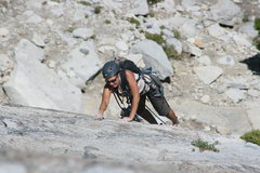 Rock Climbing Photo: Marina Amador leading pitch 2 on her first trad le...