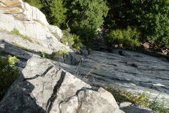 Rock Climbing Photo: Looking down from the first belay ledge