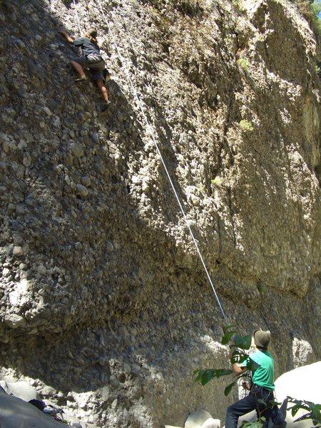 Carlo Rivas on Cobble Climb, Wheeler Gorge. On TR.