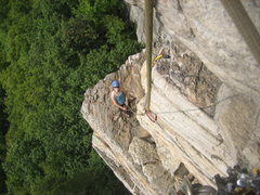 Rock Climbing Photo: Looking down at TK after pulling the crux