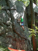 Rock Climbing Photo: Paulie, almost in the dihedral.
