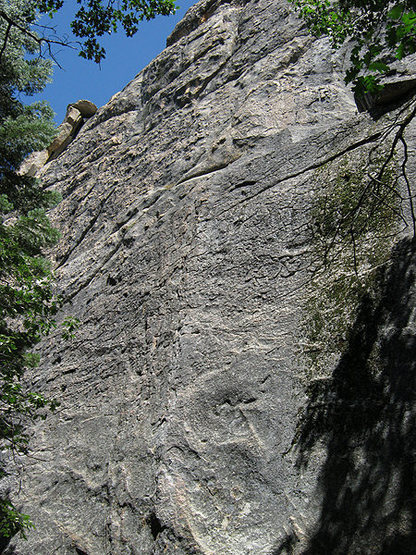 Looking up the West Face.<br> Photo by Blitzo.