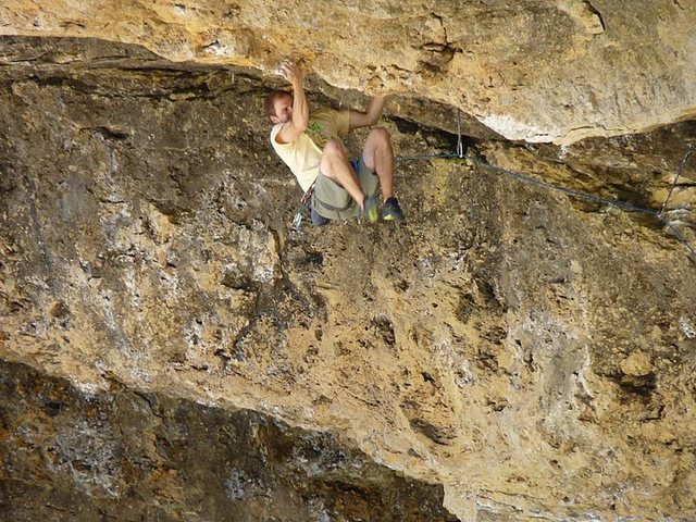 Rock Climbing Photo: pulling through the roof.