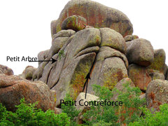 Rock Climbing Photo: Showing the route in relation to Le Petit Arbre.