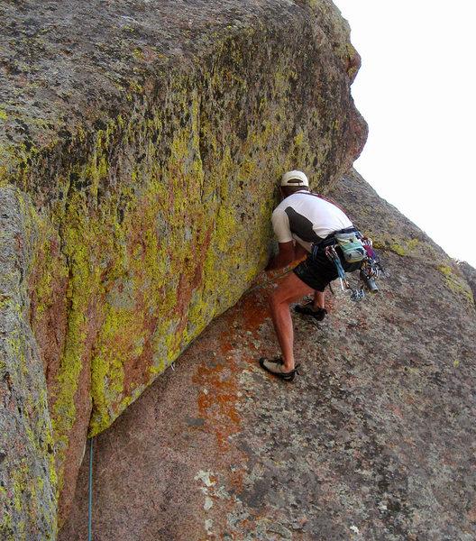 Rock Climbing Photo: Paul Heyliger near the crux.