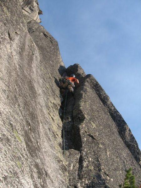 Rock Climbing Photo: Matt leading up pitch 3