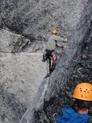 Rock Climbing Photo: Ledge traverse to start pitch 5