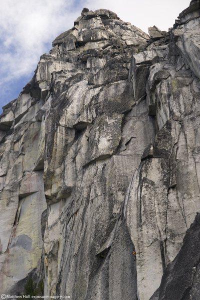 Rock Climbing Photo: Evan leading pitch 4