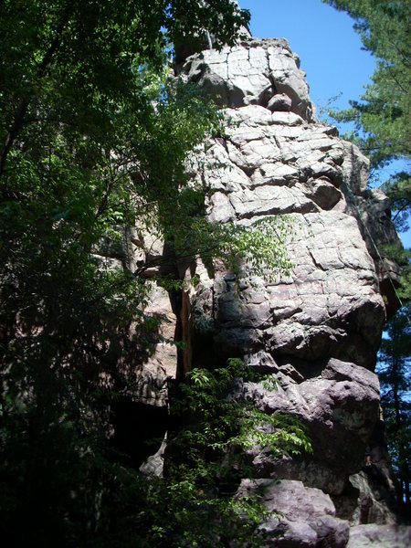 Rock Garden climbs the shaded area on the left of the face.