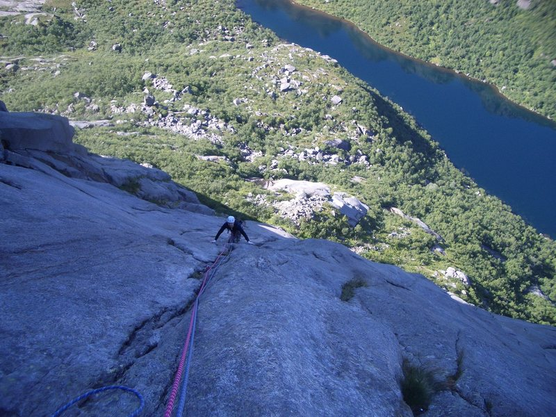 Rock Climbing Photo: Pitch 6 classic 5-7 slab climbing. Many folks were...