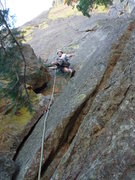 Rock Climbing Photo: On the 5.7 variation to the first pitch.  Worth do...