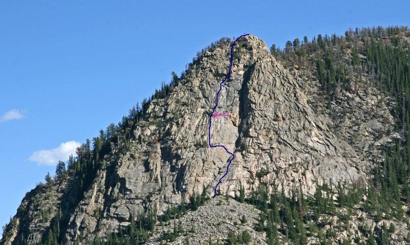Route on the upper buttress. Arrow shows the Gunks roof.<br> <br> Photo by Stan Wagon.