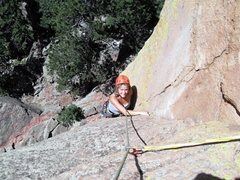 Rock Climbing Photo: Brenda starting up the right-facing dihedral with ...