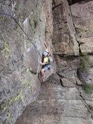 Rock Climbing Photo: Sam following the wild traverse on the FA.