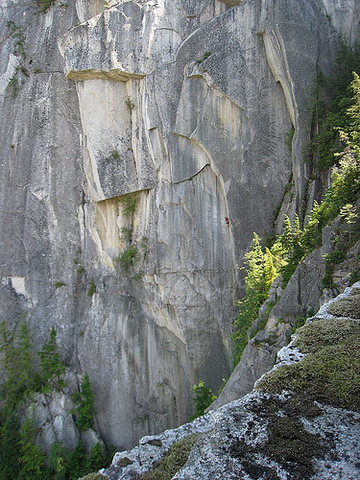 Climber on pitch 3. Taken from the Squamish Buttress.