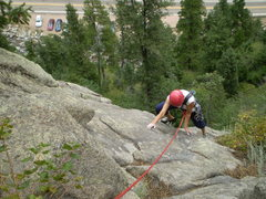 Rock Climbing Photo: Finishing on the low angle slab.