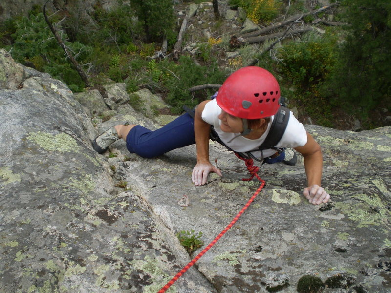Approaching the P1 belay.