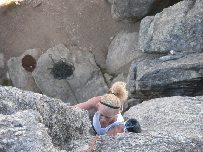Rock Climbing Photo: Sara cranking!