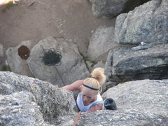 Rock Climbing Photo: Sara cranking!