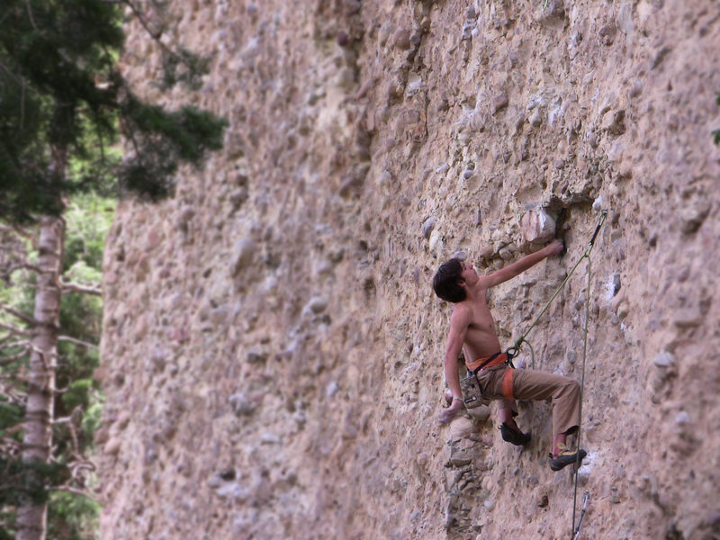 Rock Climbing Photo: Low on the route. Photo by Lynn Sanson