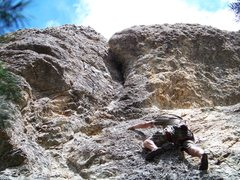 "Rock Climbing Photo: Derek on Variation of C and Canadian Bacon. ""..."