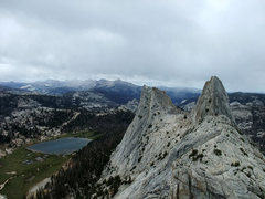 Rock Climbing Photo: August snow flurries looking from SW the start of ...