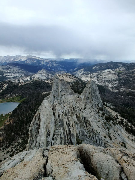 on the ridge proper
