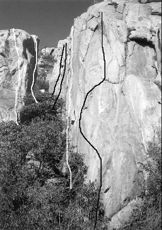 Rock Climbing Photo: Anduril is the third climb from the right (black l...