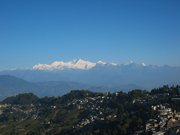 view from the Darjeeling (India) of Khachendzonga, third highest peak behind Everest and K2