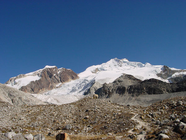 start of the approach to Huayna Potosi (Bolivia)