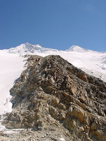 last rock on the approach to Huayna Potosi high camp (Bolivia)