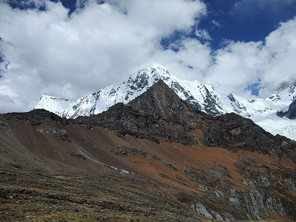 Cordillera Huayhuash (Peru): looking back toward the minor Mexico Peak (16,574 ft) and the scree slope we crossed