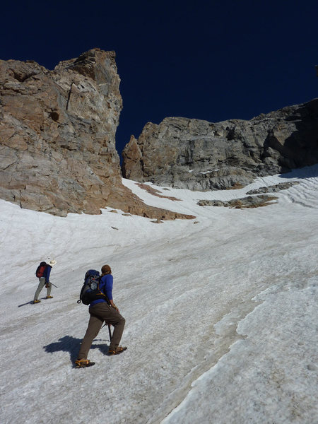 Approaching the Crystal Tower from the Teepee glacier on the first attempt