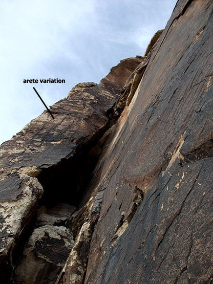Rock Climbing Photo: arete variation on P2