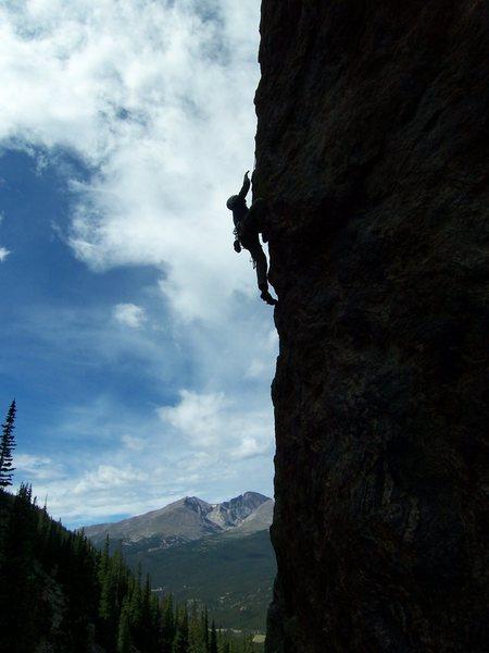 Rock Climbing Photo: Joe is working through the crux arete moves.