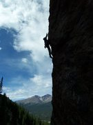 Rock Climbing Photo: Joe is working through the crux arete moves.